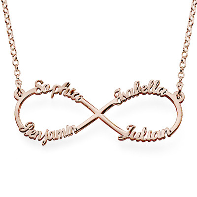 Infinity necklace with multiple names with rose gold plating