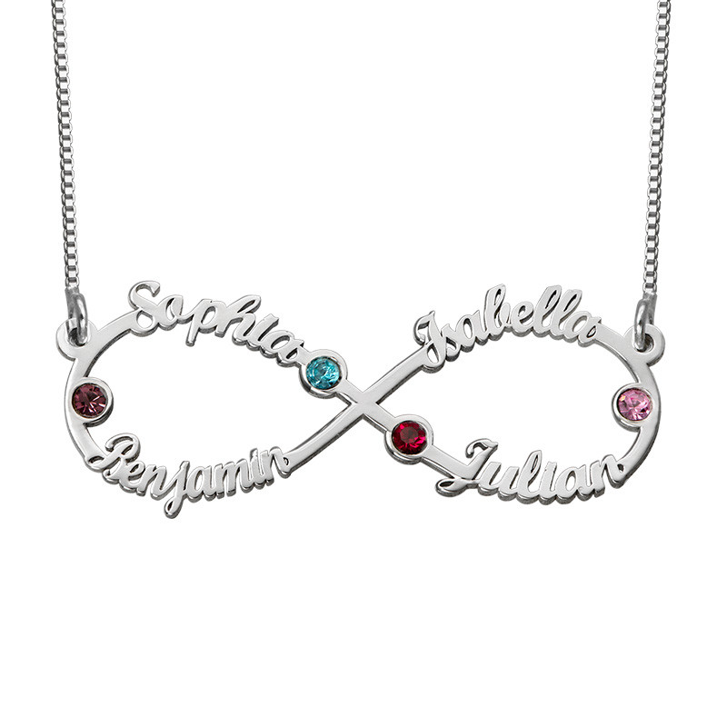 Infinity necklace with multiple names with birthstone