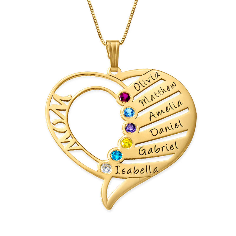 Engraved Mum Birthstone Necklace - 14ct Gold