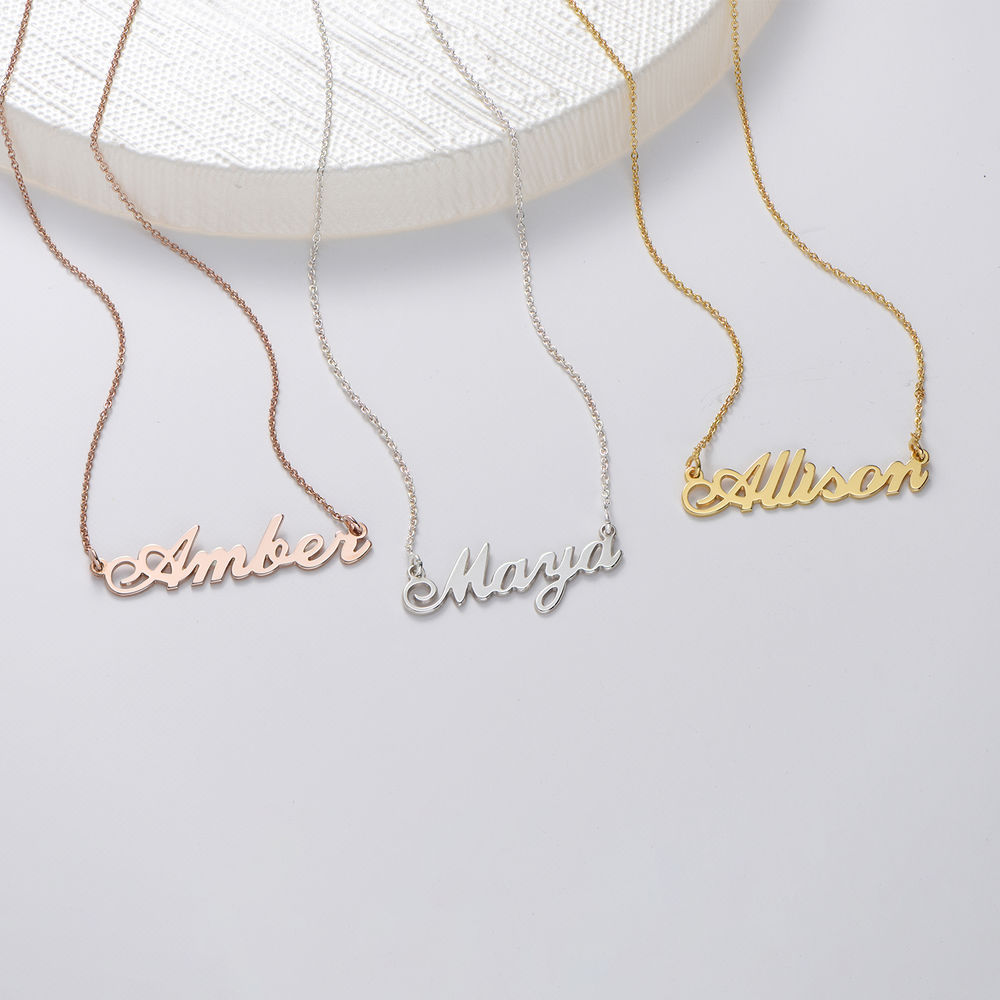 Small Personalised Classic Name Necklace in Silver - 1