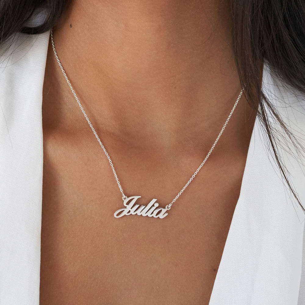 Small Personalised Classic Name Necklace in Silver - 3