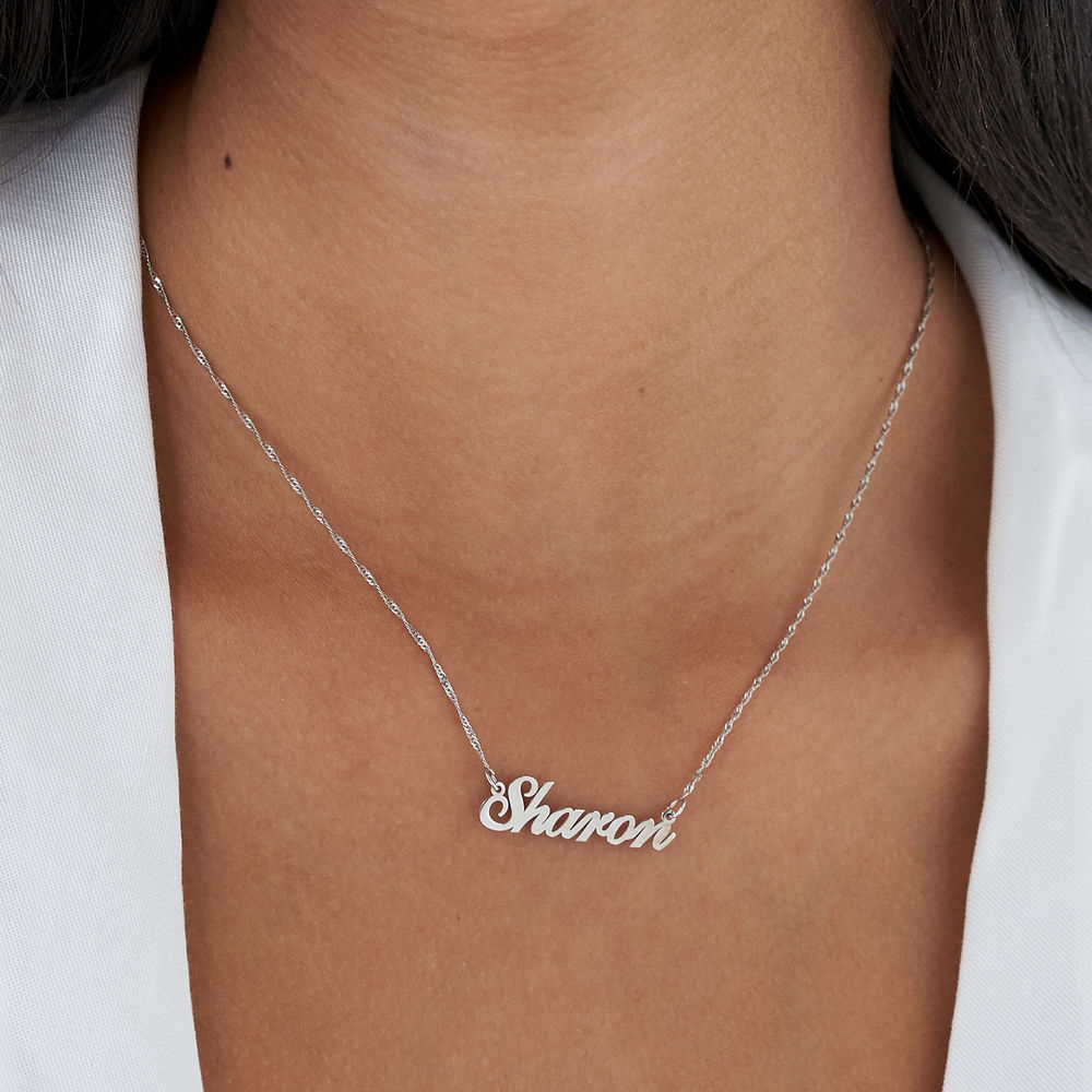 Small Classic Name Necklace in 14k White Gold - 2