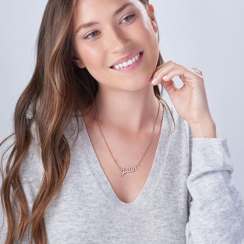 Small Classic Name Necklace in 18ct Rose Gold Plating - 4
