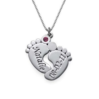 Baby Feet Necklace with Engraving