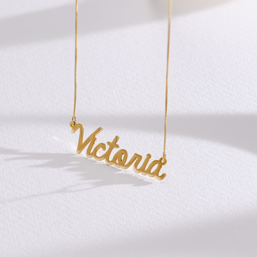 Personalised Cursive Name Necklace in 14ct Gold - 1