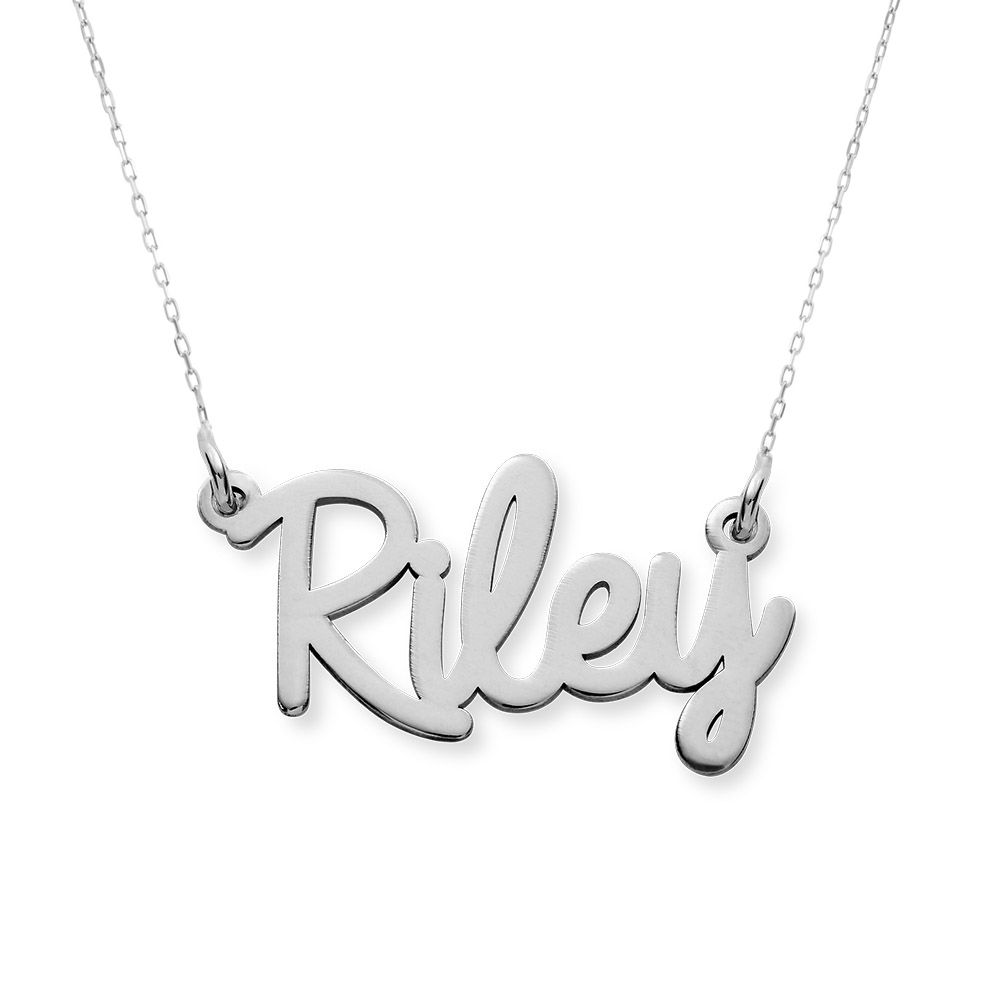 Personalised Cursive Name Necklace in 14ct White Gold