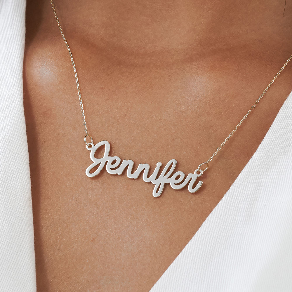 Personalised Cursive Name Necklace in 14ct White Gold - 2