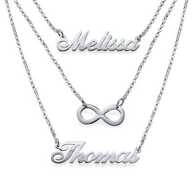 Layered Name Necklace in Sterling Silver