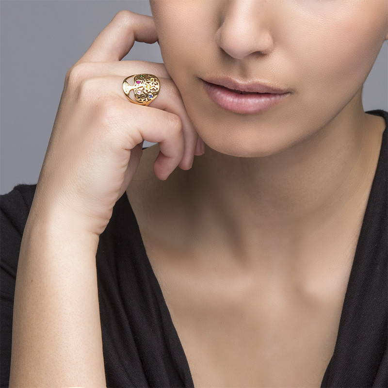 Family Tree Jewellery - Birthstone Ring with Gold Plating - 2