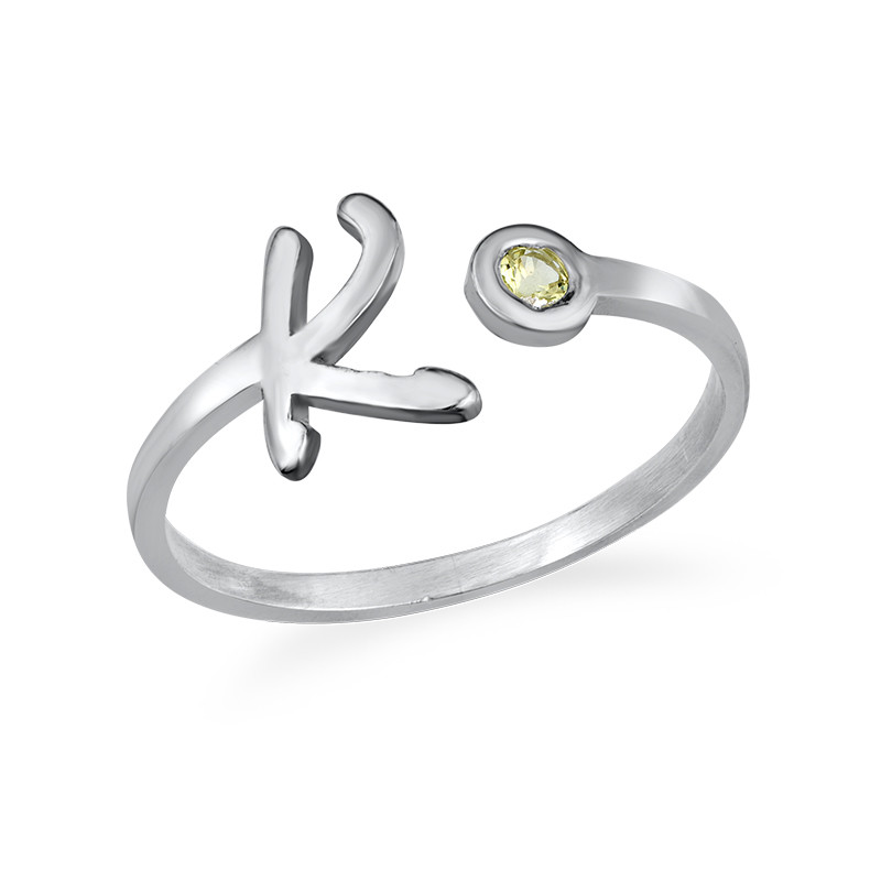Sterling Silver Initial Open Ring with Birthstone