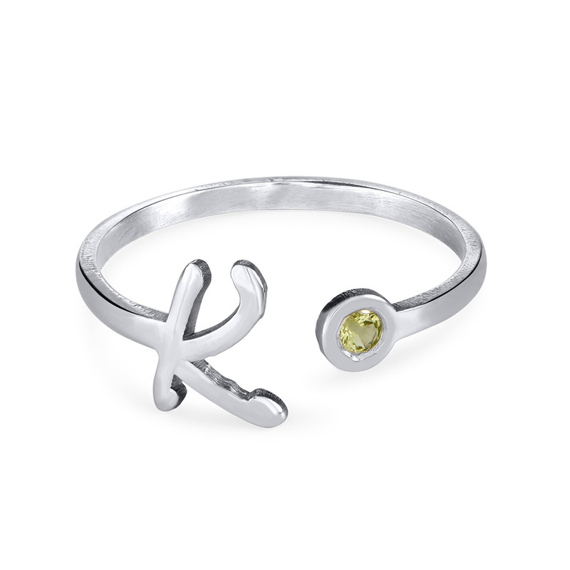 Sterling Silver Initial Open Ring with Birthstone - 1