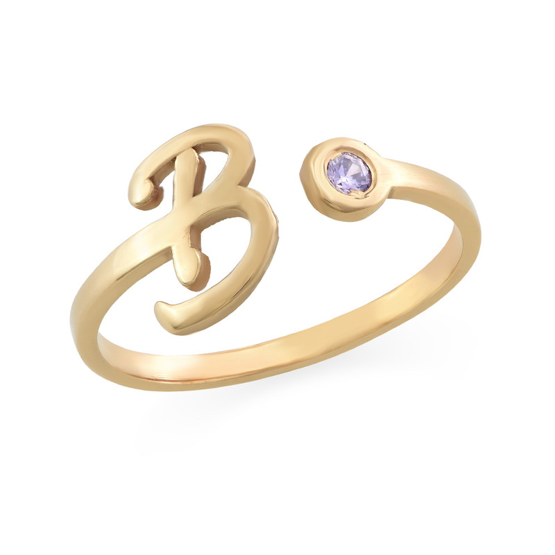 18ct Gold Plated Open Initial Birthstone Ring