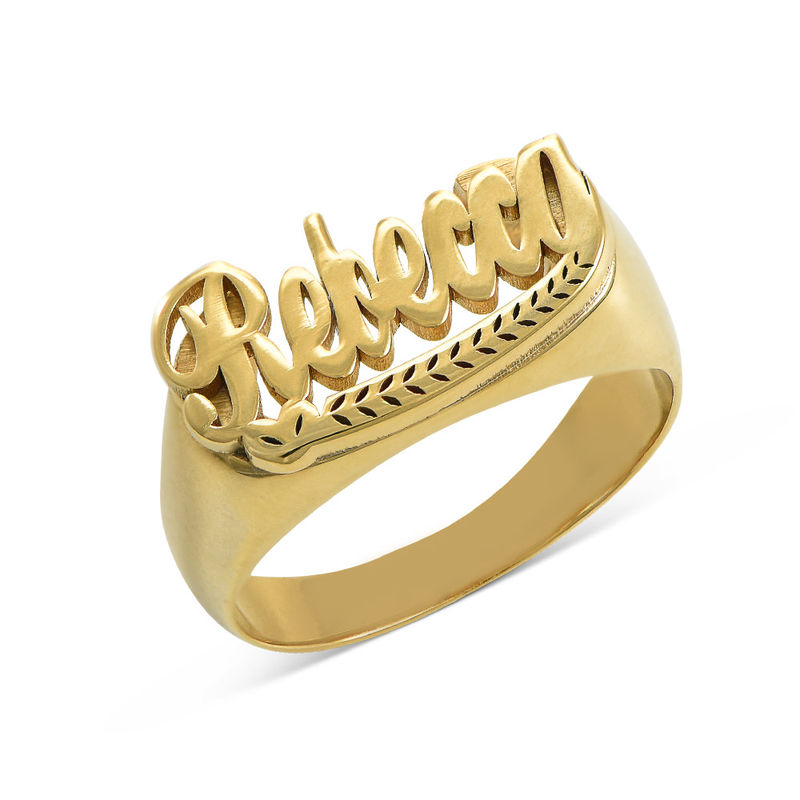 Gold Plated Sterling Silver Name Ring