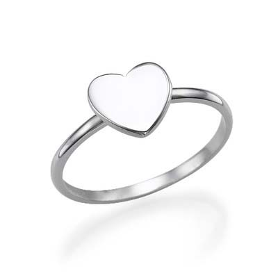 Heart Initial Ring in Sterling Silver - 3