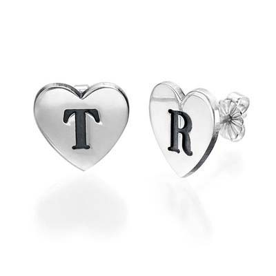 Heart Initial Earrings
