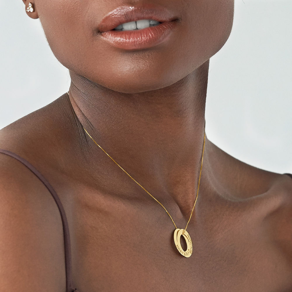 Russian Ring Necklace with 2 Rings in 10ct Yellow Gold - 2