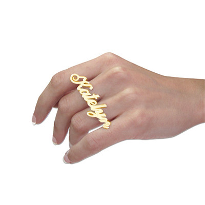 Two Finger Name Ring in Solid 14ct Gold - 1