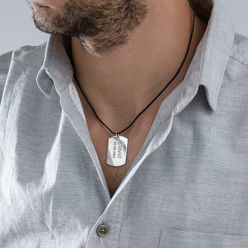 "Sterling Silver Men's ""Dog Tag"" Necklace - 1"