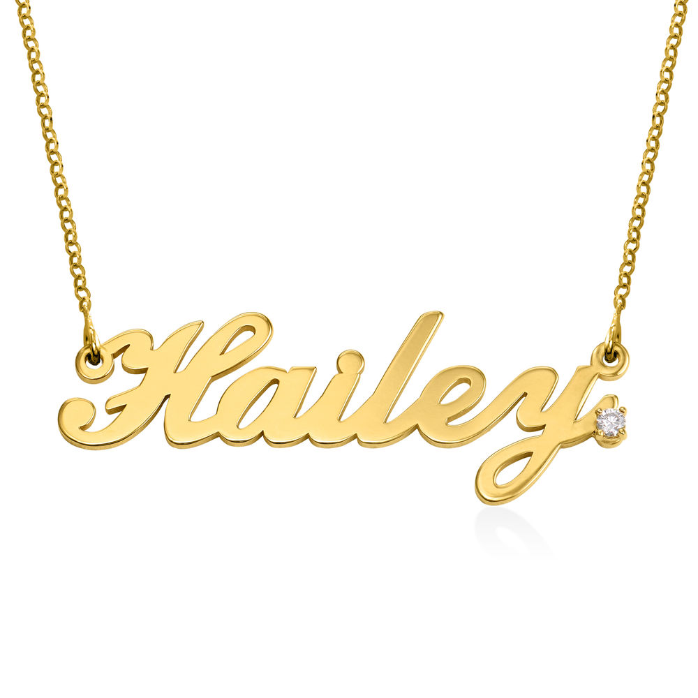 Personalised Classic Name Necklace in Gold Plated with Diamond