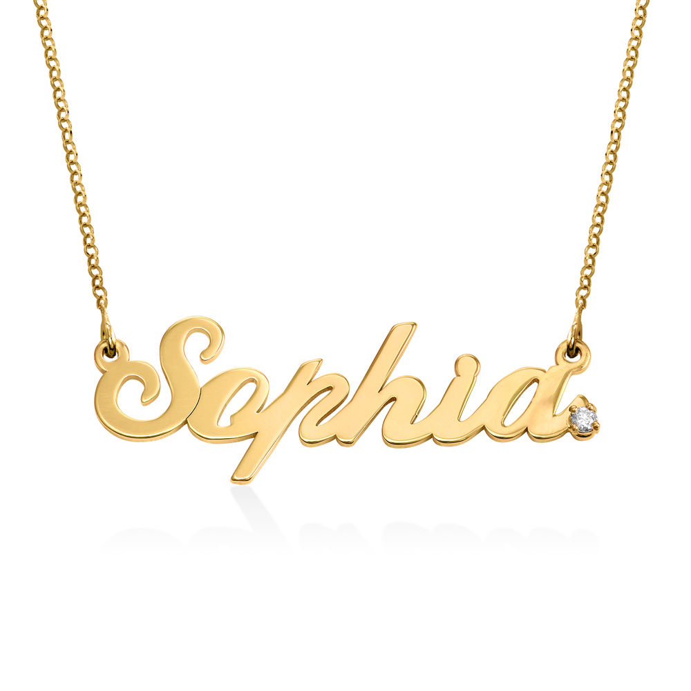 Personalised Classic Name Necklace in Gold Vermeil with Diamond