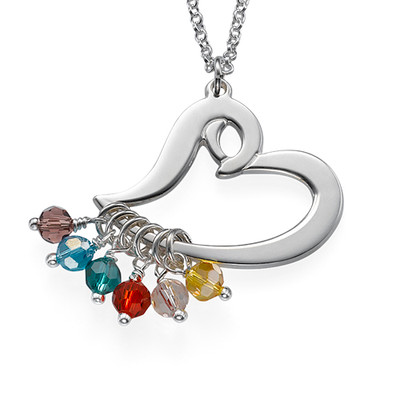 Silver Heart Necklace with Hanging Birthstones