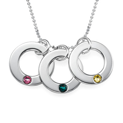 Birthstone Necklace for Mum in Silver