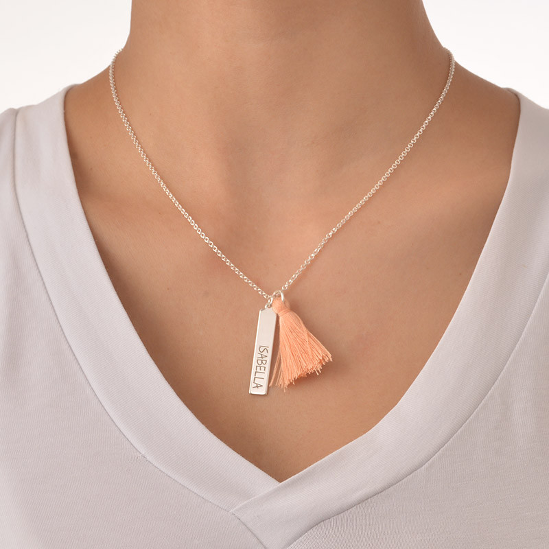 Tassel Necklace with Engraved Vertical Bar - 2