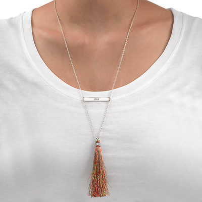 Tassel Jewellery - Engraved Bar Necklace - 2