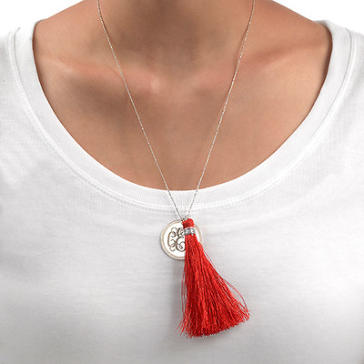 Tassel Jewellery - Silver Engraved Monogram Necklace - 3