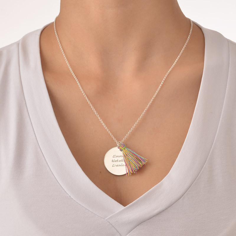 Sterling Silver Engraved Disc and Tassel Necklace - 1 - 2