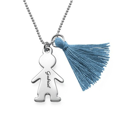 Tassel Necklace with Personalised Kids Charm in Silver