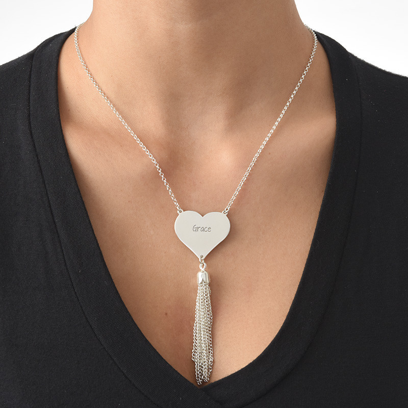 Personalised Heart Necklace in Silver with Tassel - 1