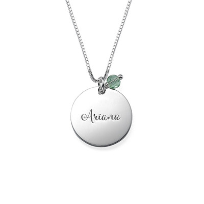 Om Necklace with Engraving and Birthstone - 1