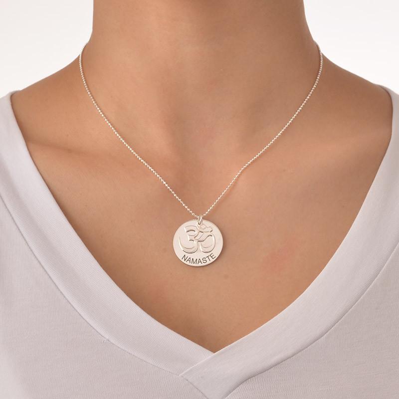 Sterling Silver Engraved Om Necklace - 1 - 2