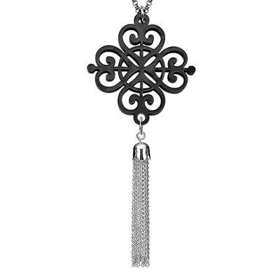 Tassel Necklace with Acrylic Design