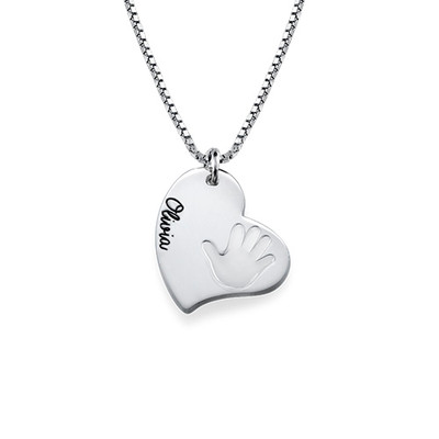 Handprint Necklace - Heart Shaped