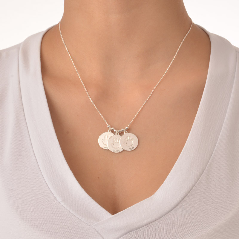Disc Necklace for Mothers with Baby Handprint - 1 - 2