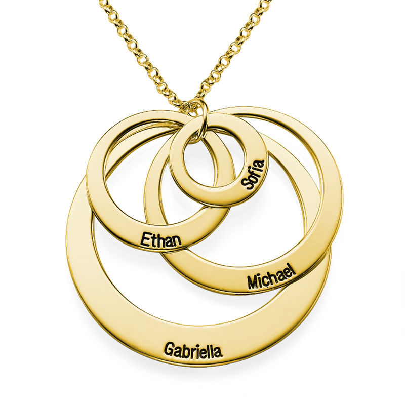 Four Open Circles Necklace with Engraving in Gold Plating - 1 - 2