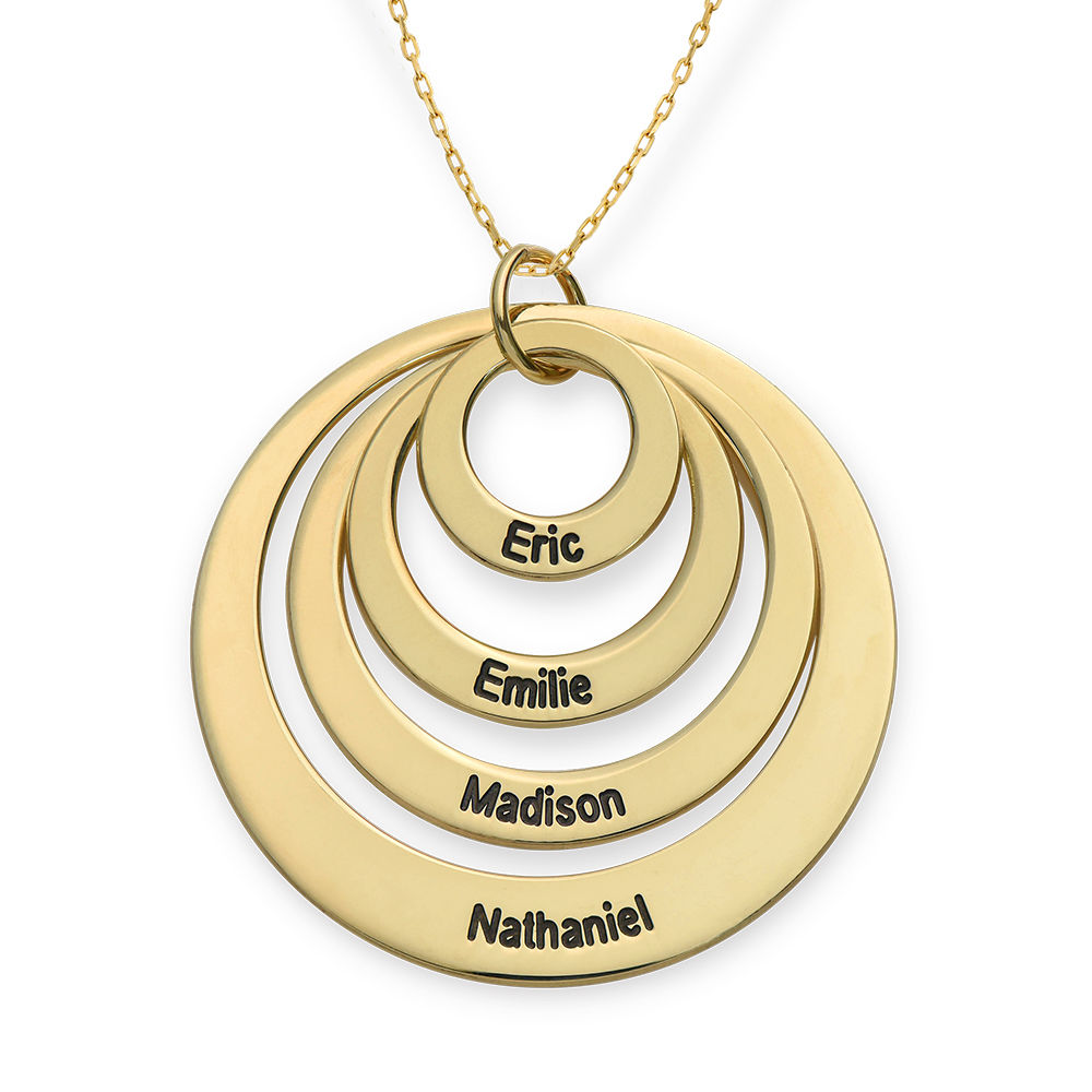 Four Open Circles Necklace with Engraving in 10ct Yellow Gold