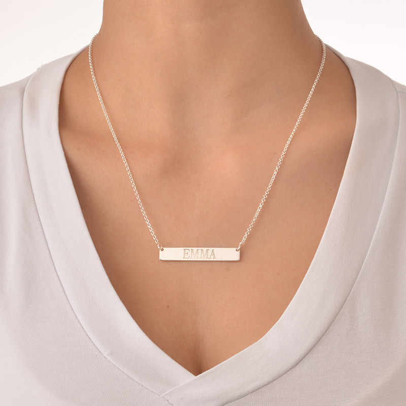 Silver Engraved Bar Necklace - 1