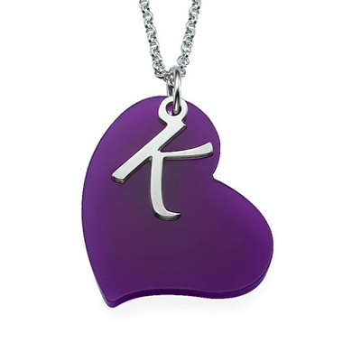 Acrylic Heart Necklace with Silver Initial Charm