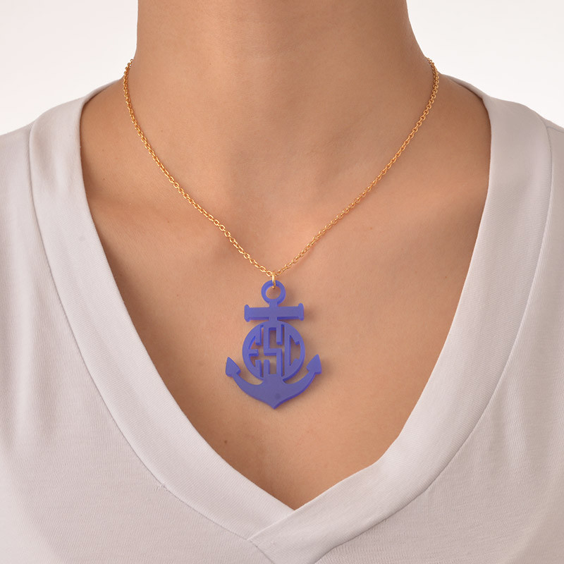 Acrylic Anchor Block Monogram Necklace - 2