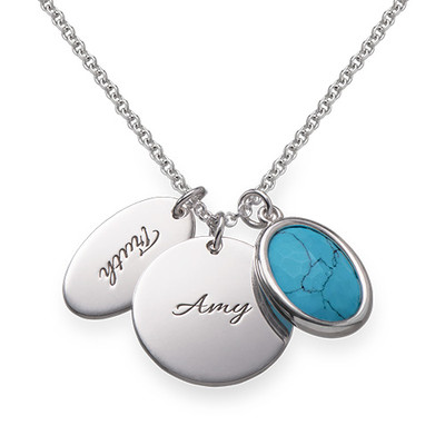 Glass Stone Necklace with Round & Oval Charms