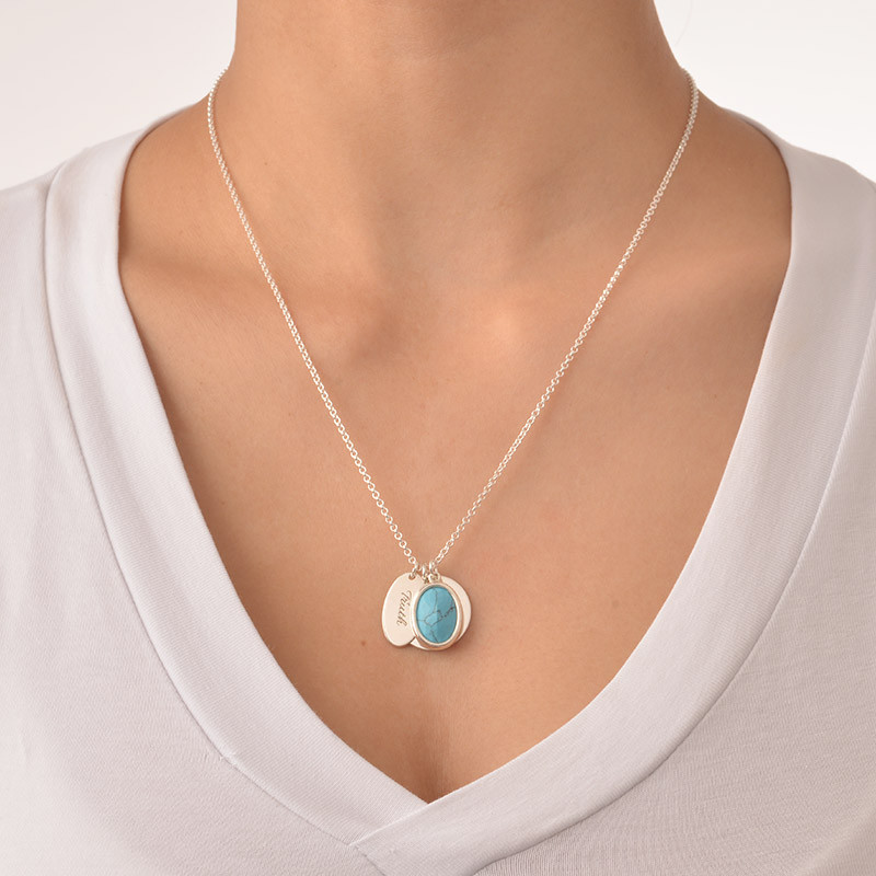 Glass Stone Necklace with Round & Oval Charms - 1 - 2