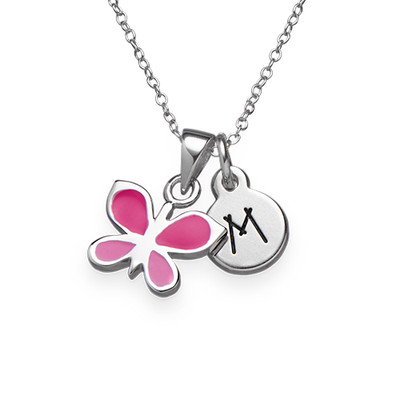 Pink Butterfly Necklace for Kids with Initial Charm