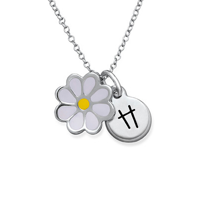 Enamel Flower Necklace for Kids with Initial Charm