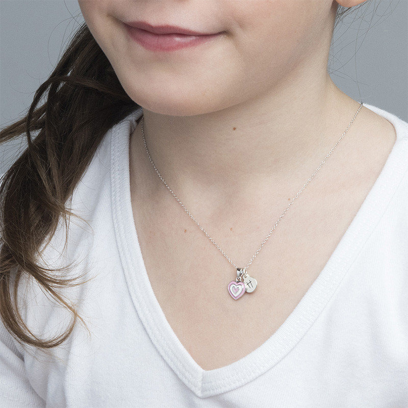 Pink Heart Necklace for Kids with Initial Charm - 2