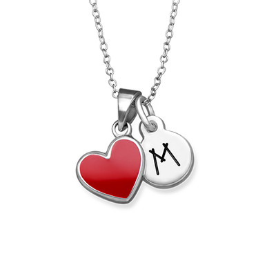 Red Heart Necklace for Kids