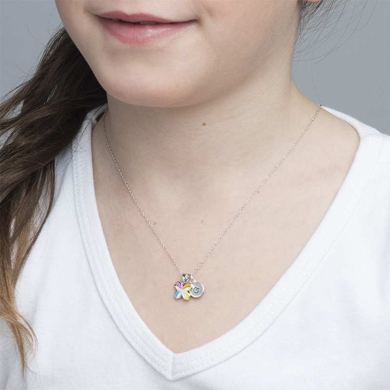 Multicolor Butterfly Pendant Necklace for Kids - 2