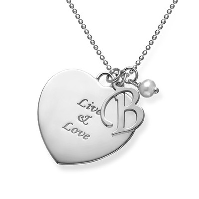 Personalised Heart Necklace with Hanging Pearl - 1